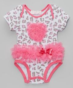 Look what I found on #zulily! White & Hot Pink Leopard Bow Ruffle Bodysuit - Infant #zulilyfinds