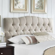 Cleveland Upholstered Panel Headboard, for the guest room, size FULL/QUEEN King Size Headboard, Panel Headboard, Cream Headboard, Bar Outdoor, Adjustable Beds, Cleveland, Bed Frame, Bedroom Furniture, Rustic Furniture