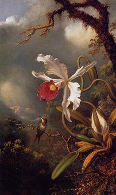 The Athenaeum - HEADE, Martin Johnson American Hudson River School (1819-1904)_An Amethyst Hummingbird with a White Orchid  - circa 1875-1890