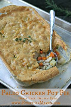 Paleo Chicken Pot Pie with a grain-free and gluten-free light and flakey crust! All real food clean eating ingredients! This is perfection. Not overly complicated to make. A rich and creamy savory pot pie filling that is topped with a light and flak Dairy Free Recipes, Whole Food Recipes, Healthy Recipes, Primal Recipes, Easy Paleo Meals, Paleo Ideas, Supper Recipes, Healthy Food, Clean Eating Recipes