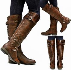 COWGIRL STYLE BOOTS Studded Buckle Accent Back Zipper Leather Western Riding Boots