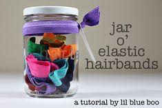 Great Gift Idea!! ♥ ... Elastic Hair Bands (& Jar) Tutorial @ Lil Blue Boo