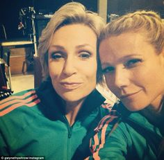 'Team gorgeous': Gwyneth Paltrow cuddled up to Jane Lynch while on set of Glee on Tuesday