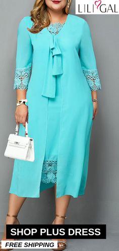 Plus Size Tie Front Lace Patchwork Dress – Bodycon Dress Plus Size Dresses, Plus Size Outfits, Cute Dresses, Party Dresses, Fall Dresses, African Fashion Dresses, African Dress, Girl Fashion, Fashion Outfits