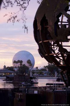 Epcot at Sunset.  IllumiNations globe & Spaceship Earth.