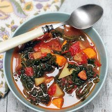 Karina's Gluten-Free Kale Soup Recipe with Spicy Chicken Sausage, Gold and Sweet Potatoes ~Substitute garlic olive oil for the olive oil and minced garlic for low FODMAP