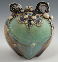 Small Turquoise Bottle by CarolLongPottery on Etsy, $125.00