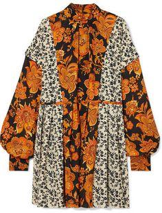 Dodo Bar Or - Erin Paneled Pleated Floral-print Crepe Mini Dress - Orange Madrid, Folk Fashion, Panel Dress, Dress For Success, Mixing Prints, Amazing Women, Kimono Top, Floral Prints, Vintage