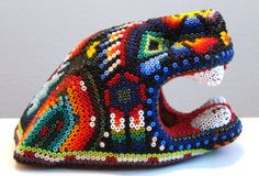 Huichol Beaded Jaguar Head from San Luis Potosi, Mexico $50 (+$6 S+H)