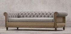 Restoration Hardware Deconstructed Chesterfield Sofa in Belgian Linen - color FOG Sofa Design, Furniture Design, Design Design, Modern Furniture, Chesterfield Sofa Bed, Beautiful Sofas, Upholstered Furniture, Sofa Set, Restoration Hardware