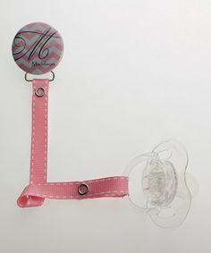 Love this Crystal Dream Pink Zigzag Personalized Pacifier Clip & Ribbon by Crystal Dream on #zulily! #zulilyfinds