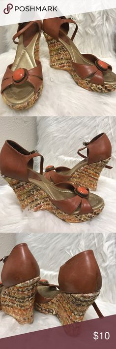 Vince Camuto Heels These are awesome vintage heels. They are wedges that have tweed material on them. Rusty tan leather upper with straps. See pics. Good condition. Vince Camuto Shoes Platforms