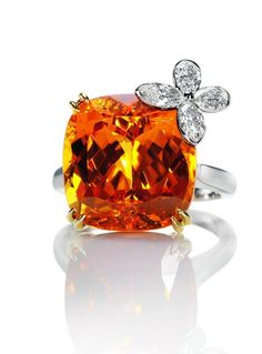 Harry Winston Orange Sapphire And Cushion Cut Diamond Butterfly Ring