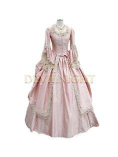 Pink Marie antonieta manga larga Victorian vestido de fiesta(China (Mainland))
