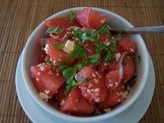 watermelon salad to accompany PIG ROAST.  I would leave out the mint.  I hate mint.