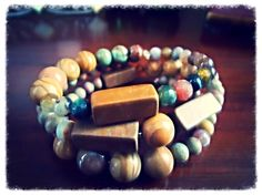 MACADAM WRAP - ONE-OF-A-KIND handmade three wrap memory wire bracelet featuring river stone, chrysanthemum stone and faceted agate beads.