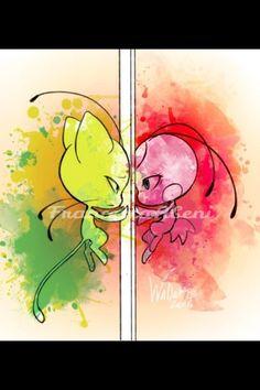 Original picture by iWadako  #miraculous #miraculousladybug #miraculousladybugandcatnoir #art #colors #tikkiandplagg #tikki #plagg #kwami