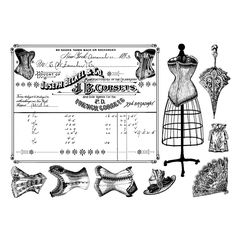 Crafty Individuals CI-306 - 'French Corsets' Art Rubber Stamps, 96mm x 137mm - Crafty Individuals from Crafty Individuals UK