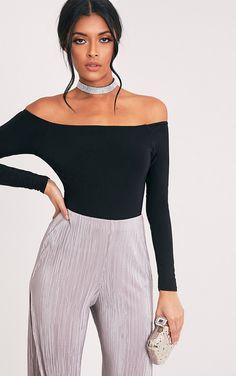 74d610ec85 black off shoulder bodysuit top - Google Search Black Off Shoulder