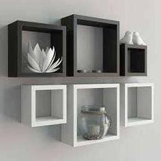 kit 6 peças nicho cubo e prateleira branco e preto em mdf fj-decor