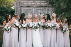 Caitlin and Matt's Garden California Wedding by Kambria Fischer Photography | Reflective of their faith, the bride and groom chose a bible quote for a woodsy wedding sign at the ceremony. The entire bridal party carried gorgeous pink and white peony wedding bouquets, while the bridesmaids wore mismatched neutral bridesmaid dresses.