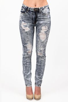 Women's High Waist Skinny Jean - Acid Wash Distressed Skinny Jean
