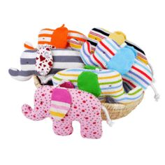 """Under the Nile Scrappy Elephants. 7"""" long. Assorted colors, each Scrappy is a surprise!"""