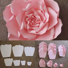 Here are the templates that are used to make a beautiful LARGE ROSE. #paperflowers #paperflower #largerose #backdrop #decor #diy #flowerwall