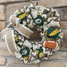 Green Bay Packers Burlap Wreath by AlpineRoadDesign on Etsy