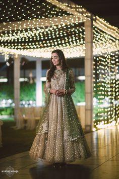 Anarkalis - Bride in a Sequinned Full Length Gold Anarkali | WedMeGood #wedmegood #indianbride #indianwedding #bridal #anarkali #gold #sequinned #green