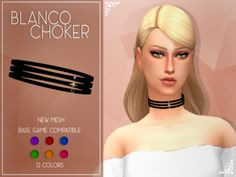 [Enrique] Blanco Choker• New Mesh  • 12 Colors (6 gems colors with gold an silver)  • Base Game Compatible  • Available for Teen to Elder  • Please tagme as enriques4 if you get to use this accesory on your sim to view