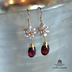 Moonbeams Jewelry by Adity Karande. Earrings Garnet, Baroque Pearls, Gold.