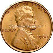 USA Cent Lincoln Cent 1960 small date, low 9 KM# 201 IN GOD WE TRUST LIBERTY coin obverse