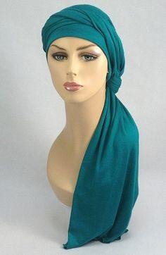 Emerald Teal Jersey Turban Set for #chemo, #alopecia, #spring 2014 Soft, soft, soft - with gentle stretch to comfort the most delicate skin. Long scarf easily wraps for dozens of styling options.