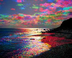Rainbow coloured clouds