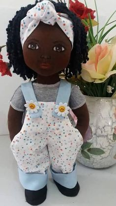 Masha - handmade crochet doll by Ludmila Zhdanova Fabric Doll Pattern, Fabric Dolls, Doll Clothes Patterns, Doll Patterns, Sewing Patterns, Doll Toys, Baby Dolls, African Dolls, Sewing Dolls