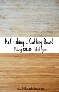 Make your cutting board NEW again by refinishing it! Sand it and use mineral oil to seal it! It is that easy to do, and took no time at all! Diy Cutting Board, Wood Cutting Boards, Diy Craft Projects, Craft Tutorials, Wood Projects, Cleaning Hacks, Cleaning Products, Alter, Frugal