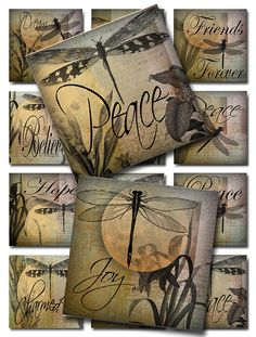 Dragonflies with Inspirational Words and Botanicals with a Moon Glowing in the Background  Digital Collage Sheet JPEG Images @ 300dpi Use the drop