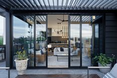 Sliding Doors Idea for Patio Areas, Sliding doors have numerous capacities with regards to porch territories. Other than permitting normal light in, they likewise have the accompanying points of interest, Sliding Patio Doors, Sliding Windows, Stacking Doors, House Extension Plans, Window Awnings, Pergola Patio, Backyard, Aluminium Doors, Modern Door
