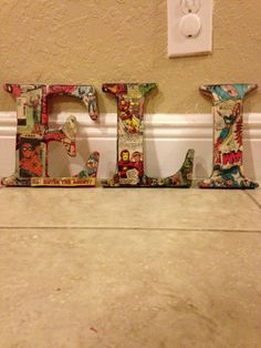 Mod podge letters for babies room, from old comic books. As a former comic lover would do this in Archie & Jughead! Baby Boys, Old Comic Books, Superhero Room, Old Comics, Kids Wood, Welcome Baby, Wood Letters, Infant Activities, Book Nerd