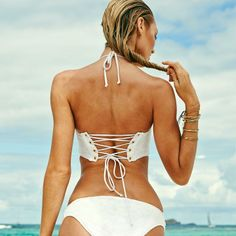 Our Long Line Bandeau with a sultry lace-up back. / VS Swim 2014