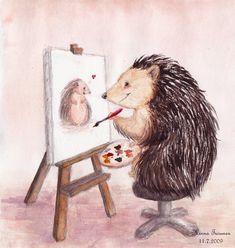 """art love"" by Amarathimi on deviantART Hedgehog Drawing, Hedgehog Art, Hedgehog Illustration, Happy Hedgehog, Scrapbook Images, Best Friend Drawings, Photoshop Me, Rock Art, Squirrel"