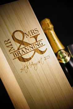These Mr & Mrs wooden wine & champagne boxes make the perfect gift for weddings & anniversary  Each box is laser etched with the family name and date
