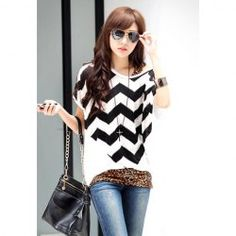 $7.15 Relaxed Sawtooth Pattern Batwing Sleeve Plus Size White Blouse For Women