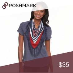 Scarf and tee set PRODUCT DETAILS Flaunt your patriotic pride in this women's World Unity tee, featuring a removable scarf.  PRODUCT FEATURES Removable fringe scarf ties the look together Crewneck Short sleeves FABRIC & CARE Polyester, rayon, spandex Machine wash Tops
