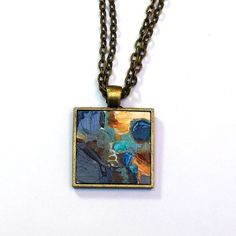 Miniature Painting, Pendant Necklace, Original Painting, Abstract Art, Painting, Wearable Art, Handpainted, Pendant, Blue, Yellow, Gold