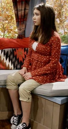 Riley's red floral button front top and cargo pants on Girl Meets World.  Outfit Details: https://wornontv.net/58823/ #GirlMeetsWorld