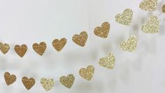 Gold Heart Garland - Gold Wedding Decor - Gold Glitter Garland - Gold Bridal Shower