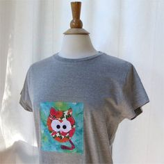 Cat tshirt womens slim fit grey gray applique Xlarge by BoosTees, $18.00