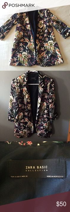 Fun & unique floral blazer from ZARA Floral blazer from Zara in awesome condition! Only worn twice. Spice up your work fashion with this baby. Size small. Made in Morocco. 100% polyester. Zara Jackets & Coats Blazers
